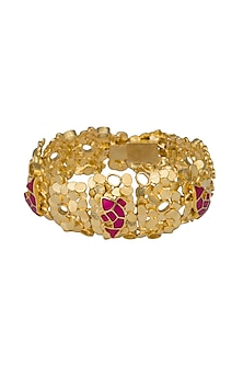 Gold Finish Enameled Bracelet by Gauri Himatsingka