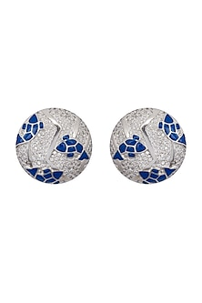 Silver Finish American Diamond Earrings by Gauri Himatsingka