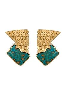 Gold Finish Stone Earrings by Gauri Himatsingka