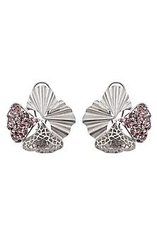 Silver Finish Fan Stud Earrings by Gauri Himatsingka