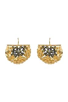 Gold & Black Rhodium Finish Ulta Fan Earrings by Gauri Himatsingka