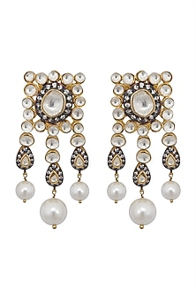 Gold & Black Rhodium Finish Long Earrings by Gauri Himatsingka