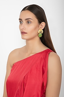 Gold & Black Rhodium Finish Fan Long Earrings by Gauri Himatsingka