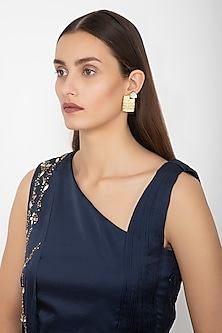 Gold Finish Mesh Stud Earrings by Gauri Himatsingka