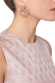 Rose Gold Plated Crescent Ribbon American Diamond Earrings by Gauri Himatsingka