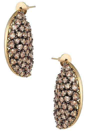 Gold Plated Kairi Shaped American Diamond Earrings by Gauri Himatsingka