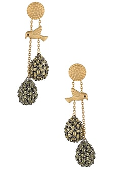 Gold Plated Perched Bird Earrings with Green and Yellow American Diamonds by Gauri Himatsingka