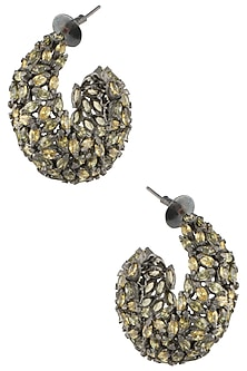 Gold Plated Yellow and Green American Diamond Earrings by Gauri Himatsingka