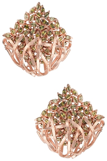 Rose Gold Plated Spiral Work Green American Diamond Earrings by Gauri Himatsingka