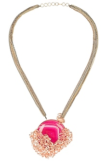 Gold Plated Pink Agate Ribbon Work Pendant Necklace by Gauri Himatsingka