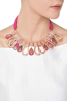 Rose Gold Plated Pink Quartz and American Diamond Necklace by Gauri Himatsingka
