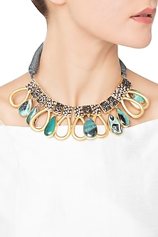 Gold Plated Green Quartz and American Diamond Necklace by Gauri Himatsingka