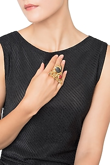 Gold Plated Coral Bug Motif Ribbon Work Ring by Gauri Himatsingka