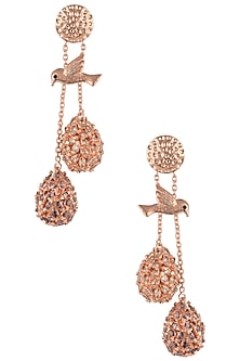 Rose Gold Plated American Diamond Earrings by Gauri Himatsingka