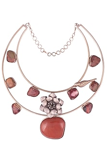 Rose Gold Plated Hasli Shaped Double Layered Necklace by Gauri Himatsingka