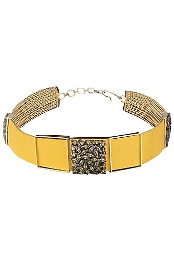 Gold Plated Yellow Leather American Diamond Choker Necklace by Gauri Himatsingka