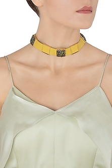 Gold Plated Yellow Leather American Diamond Choker Necklace by Gauri Himatsingka