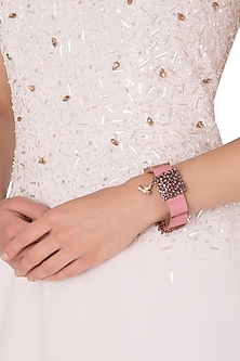 Rose Gold Plated Pink Leather American Diamond Bracelet by Gauri Himatsingka