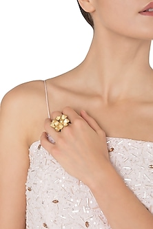 Gold Plated 3D Yellow Flower Tumble Ring by Gauri Himatsingka