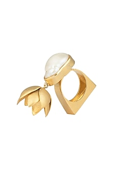 Gold Plated Mother Of Pearl Ring by Gauri Himatsingka