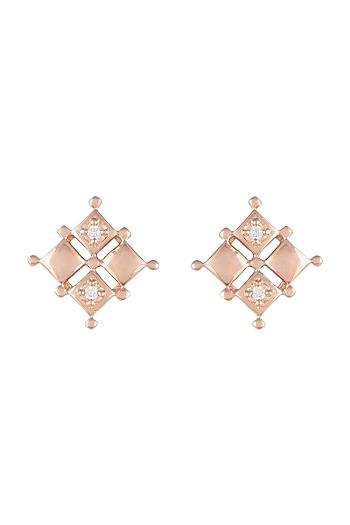 Rose Gold Finish Faux Diamond Stud Earrings by GK