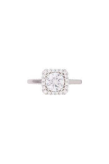 White Finish Faux Diamond Ring by GK