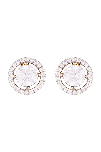 Gold Finish Faux Diamond Stud Earrings by GK
