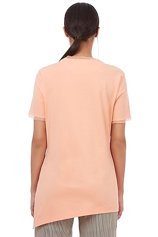 Salmon Asymmetric T-Shirt by Genes Lecoanet Hemant