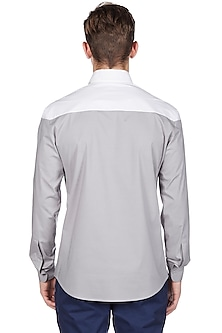 Light Grey Cotton Shirt by Genes Lecoanet Hemant
