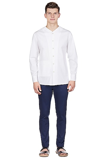 White Cotton & Lycra Shirt by Genes Lecoanet Hemant Men