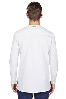 White Cotton & Lycra Shirt by Genes Lecoanet Hemant
