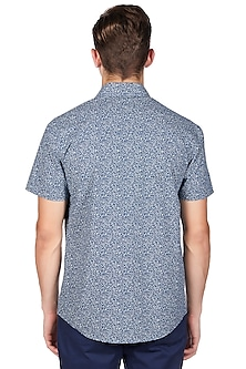 Teal Blue Floral Printed Shirt by Genes Lecoanet Hemant