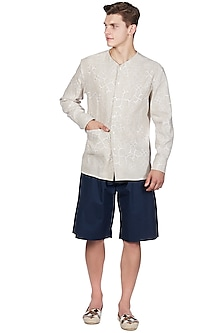 Beige Linen V-Neck Shirt by Genes Lecoanet Hemant