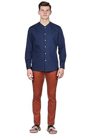 Navy Blue Cotton & Lycra Shirt by Genes Lecoanet Hemant Men