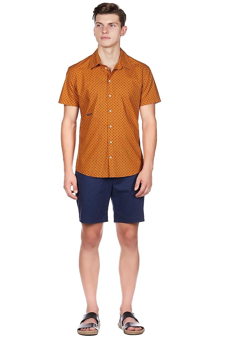 Rust Orange Printed Shirt by Genes Lecoanet Hemant Men
