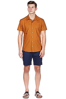 Rust Orange Printed Shirt by Genes Lecoanet Hemant