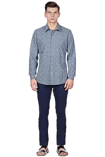 Teal Blue Printed Shirt by Genes Lecoanet Hemant