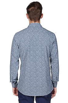 Teal Blue Printed Shirt by Genes Lecoanet Hemant