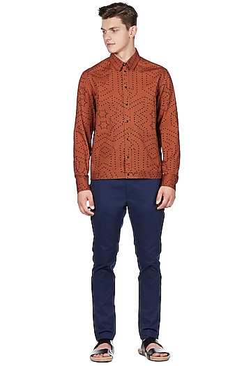 Rust Orange Cotton Shirt by Genes Lecoanet Hemant Men