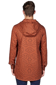 Rust Orange Cotton Hoodie by Genes Lecoanet Hemant