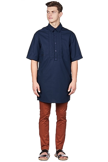 Navy Blue Classic Shirt by Genes Lecoanet Hemant Men