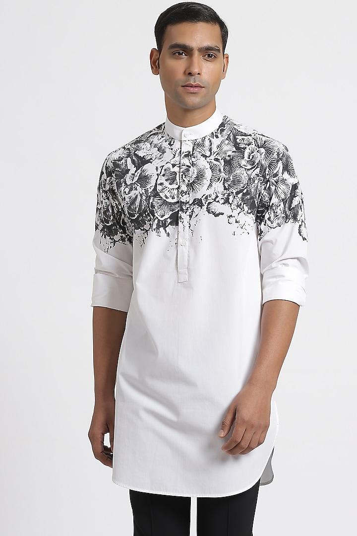 White Cotton Short Kurta by Genes Lecoanet Hemant Men