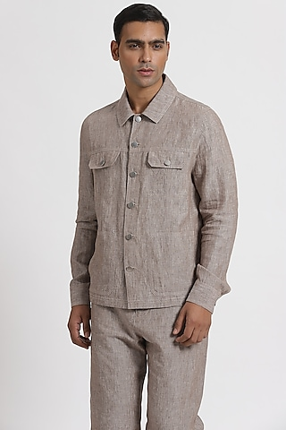 Beige Shirt Jacket With Chambray Look by Genes Lecoanet Hemant Men