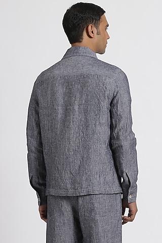Navy Shirt Jacket With Chambray Look by Genes Lecoanet Hemant Men