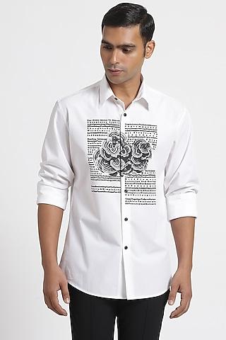 White Shirt In Cotton Poplin by Genes Lecoanet Hemant Men