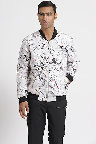 White Floral Printed Bomber Jacket by Genes Lecoanet Hemant Men