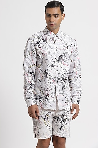 White Floral Printed Shirt by Genes Lecoanet Hemant Men