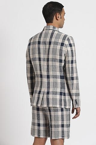 White Checkered Jacket by Genes Lecoanet Hemant Men