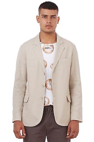Natural Beige Cotton Slub Jacket by Genes Lecoanet Hemant Men