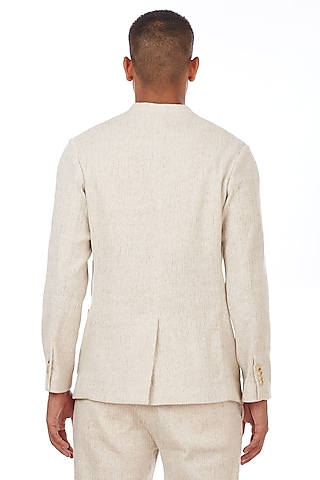 Natural Beige Cotton Jacket by Genes Lecoanet Hemant Men